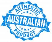Australian Product Grunge Blue Stamp