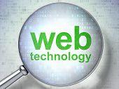 SEO web development concept: optical glass with words Web Techno