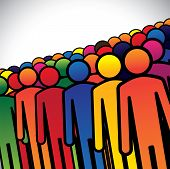 Abstract Colorful Group Of People Or Workers Or Employees - Concept Vector