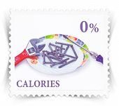 Label For Various Healthy Nutrition Diet Products Advertisements Stylized As Post Stamp