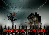 Scary house behind the fence. Lightning strikes a tree scattering ravens in a stormy sky. A haunted