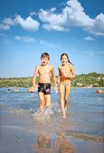 image of serbia  - Girl on the public beach Strand at Danube river in Novi Sad - JPG