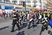 HASTINGS, ENGLAND - AUGUST 10: The Corps of Drums of the Farnborough Royal British Legion parade alo