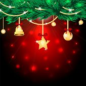 Christmas Background.golden Christmas Tree Decorations On A Red Background Flickering.gold Christmas