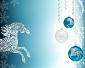 Christmas Background Blue With Horse