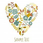 Autumn Floral Heart Card. Cute retro flowers arranged un a shape of the heart, perfect for wedding i