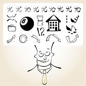 Doodle businessman with icon thoughts