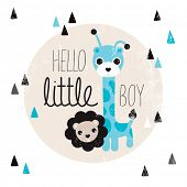 Cute giraffe and lion animal illustration hello baby boy birth announcement card template in vector