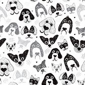 Seamless poodle dogs and puppy illustration hand drawn background pattern in vector
