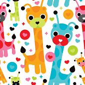 Seamless cute baby giraffe illustration kids background pattern in vector