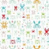 Seamless hand drawn insects, bugs and small creatures illustration background pattern in vector
