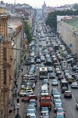 ST.PETERSBURG, RUSSIA - JUN 27: Cars stand in traffic jam on the city center, Jun 27, 2013, SPb, Rus