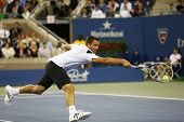 Professional tennis player Mikhail Youzhny during  quarterfinal match at US Open 2013