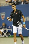 Professional tennis player Novak Djokovic during  quarterfinal match at US Open 2013
