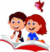 Cartoon Boy and girl flying on a book