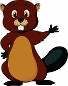 Cute beaver cartoon waving