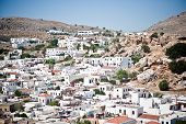 Aerial view of the town of Lindos, Greece