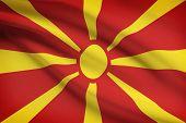 Series Of Ruffled Flags. Republic Of Macedonia.