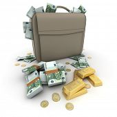 Briefcase brimming with Euros and gold