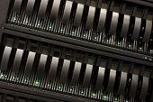 stock photo of mainframe  - Mainframe of a data server with closed doors - JPG