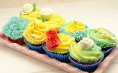 stock photo of san valentine  - Cupcakes decorated with buttercream served on a tray - JPG