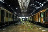 Cargo Trains In Old Train Depot