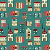 seamless cute city pattern