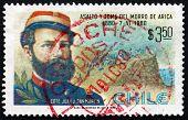 Postage Stamp Chile 1980 Commander Juan San Martin, Battle Scene