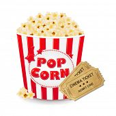 stock photo of popcorn  - Popcorn In Cardboard Box With Ticket Cinema With Gradient Mesh - JPG