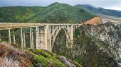 stock photo of bixby  - Scenic viewpoint of bixby bridge in big sur - JPG