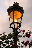 Old Fashioned Street Lamp In Evening