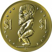 Vector Money Gold Coin Cook Islands Dollar With Maori God Tangaroa