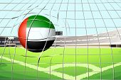 Illustration of a ball hitting a goal with the United Arab Emirates flag
