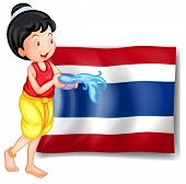 Illustration of a smiling Thai woman in front of the Thailand flag on a white background