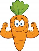 Cute Carrot Cartoon Character Showing Muscle Arms