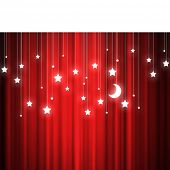 Background conceptual image of red curtain with stars and moon