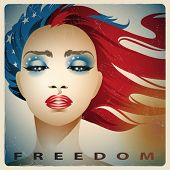 Vintage style vector illustration of a girl with colors of the United States flag