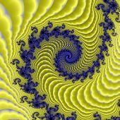 Gold satin and blue silk oriental spiral.