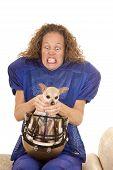 Woman Football Player Dog In Helmet Choke