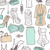Shopping List In Pictures. Pattern Of Women's Clothing In A Romantic Style For Work And Rest.