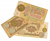 Old soviet rubles and copeks.