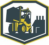picture of forklift driver  - Illustration of a forklift truck and driver at work lifting handling box crate with logistics warehouse factory in background done in retro style inside shield crest shape - JPG