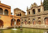 Fountain Statue Mosaics Pavilion Garden Alcazar Royal Palace Seville Spain