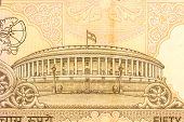 Indian Parlimament Depicted On An Indian Currency Note