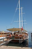 The Pleasure Yachts At The Pier In Fethiye, Turkey.