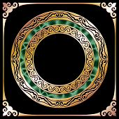 stock photo of malachite  - golden circle frame with malachite at black background - JPG