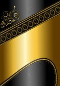 Golden pattern and border with crosses on black glossy background