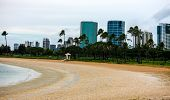 stock photo of waikiki  - Quiet park away from Waikiki area of Hawaii - JPG