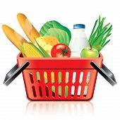 Shopping Basket With Food Isolated On White Vector
