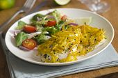 stock photo of paneer  - Chicken Breast With Paneer Cheese And Curried Potatoes - JPG